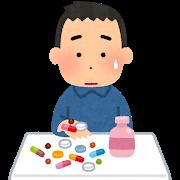 薬を手に取る男性のイラスト