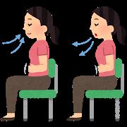 座って深呼吸している女性のイラスト